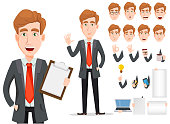 Business man with blond hair, cartoon character creation set