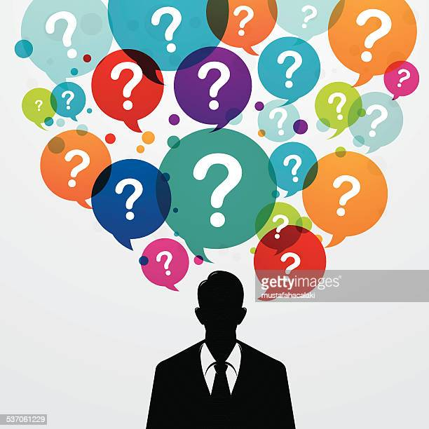 business man with colourful questions over his head - asking stock illustrations