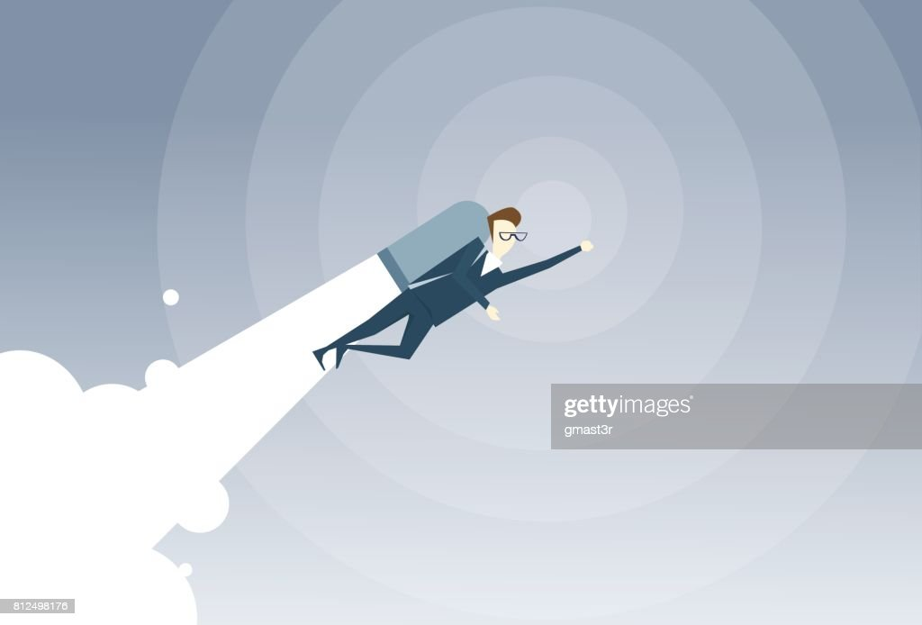 Business Man With Jet Pack Project Successful Startup Flying Businessman