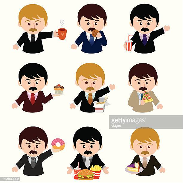 business man with junk food - lunch break stock illustrations, clip art, cartoons, & icons
