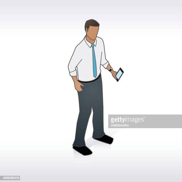 ilustrações de stock, clip art, desenhos animados e ícones de homem de negócios com o telemóvel ilustração - mathisworks