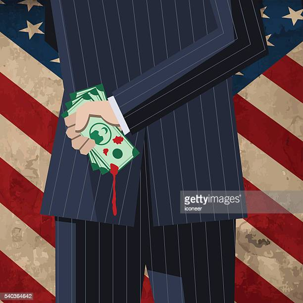 Business man with money on grunge old American flag
