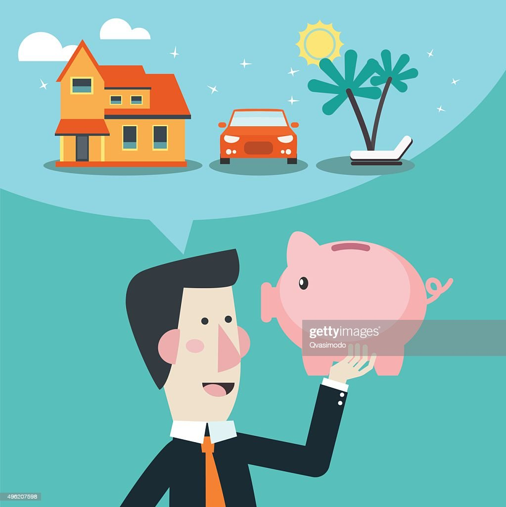 Business man with piggy bank dreaming house, car and holiday