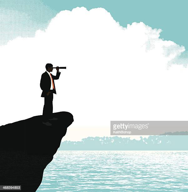 business man with telescope looking ocean background - horizon stock illustrations, clip art, cartoons, & icons