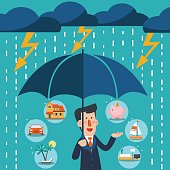 Business man with umbrella standing under thunderstorm protecting 6 icons: house, car, yacht, shopping cart, furniture and holiday vacation. Saving and investing money