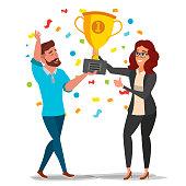 Business Man, Woman Achievement Concept Vector. Best Workers Celebrating Success. Attainment. Management Goal Victory. Golden Cup Award. Flat Cartoon Illustration