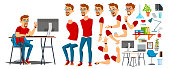 Business Man Worker Character Vector. Working Male. Casual Clothes. Start Up, Office, Creative Studio. Animation Set. Bearded Salesman, Designer. Face Emotions, Expressions. Cartoon Illustration
