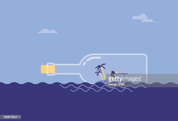 business man working on the beach in a drifting bottle and drifting in the sea - driftwood stock illustrations