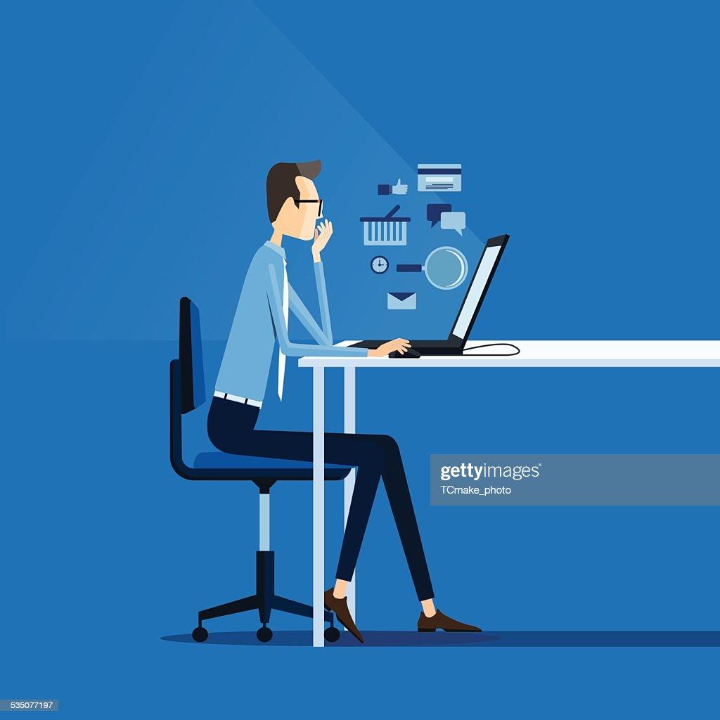 business man working online concept