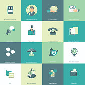 Business, management and finances icon set for websites and mobile applications. Flat vector illustration