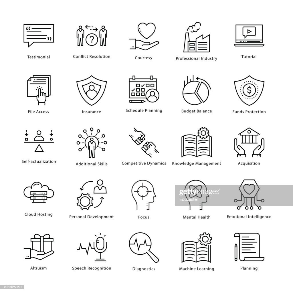 Business Management and Growth Vector Line Icons 20