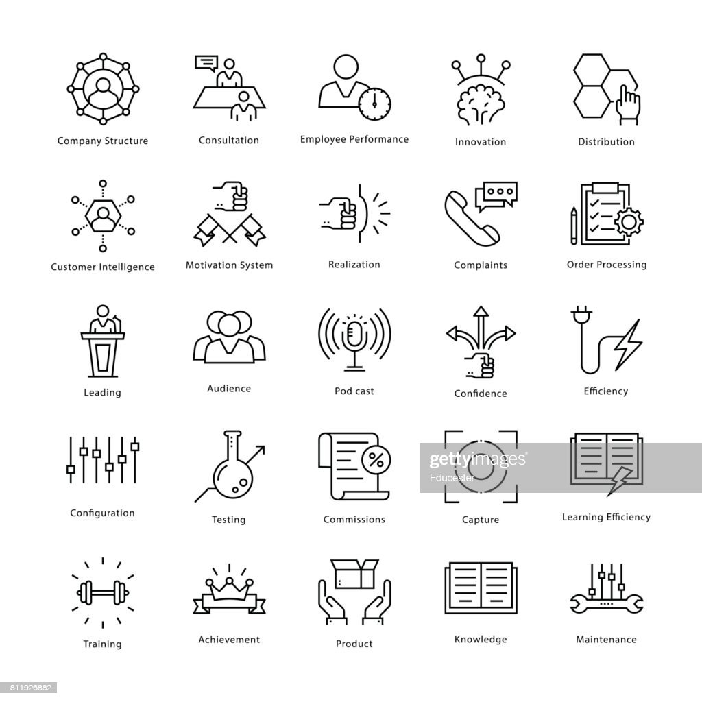 Business Management and Growth Vector Line Icons 41