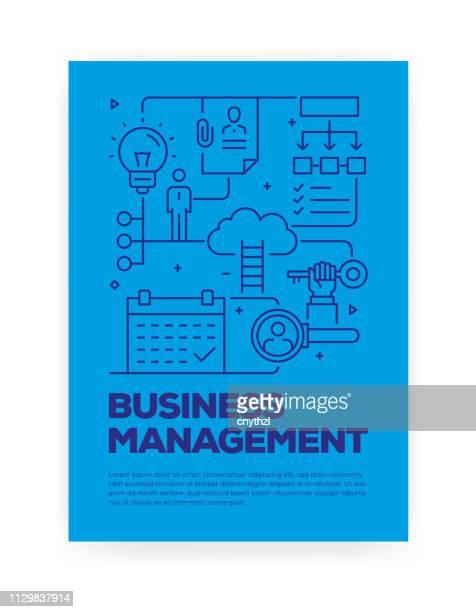 business management konzept linie stil cover-design für jährliche bericht, flyer, broschüre. - zwischenbericht stock-grafiken, -clipart, -cartoons und -symbole