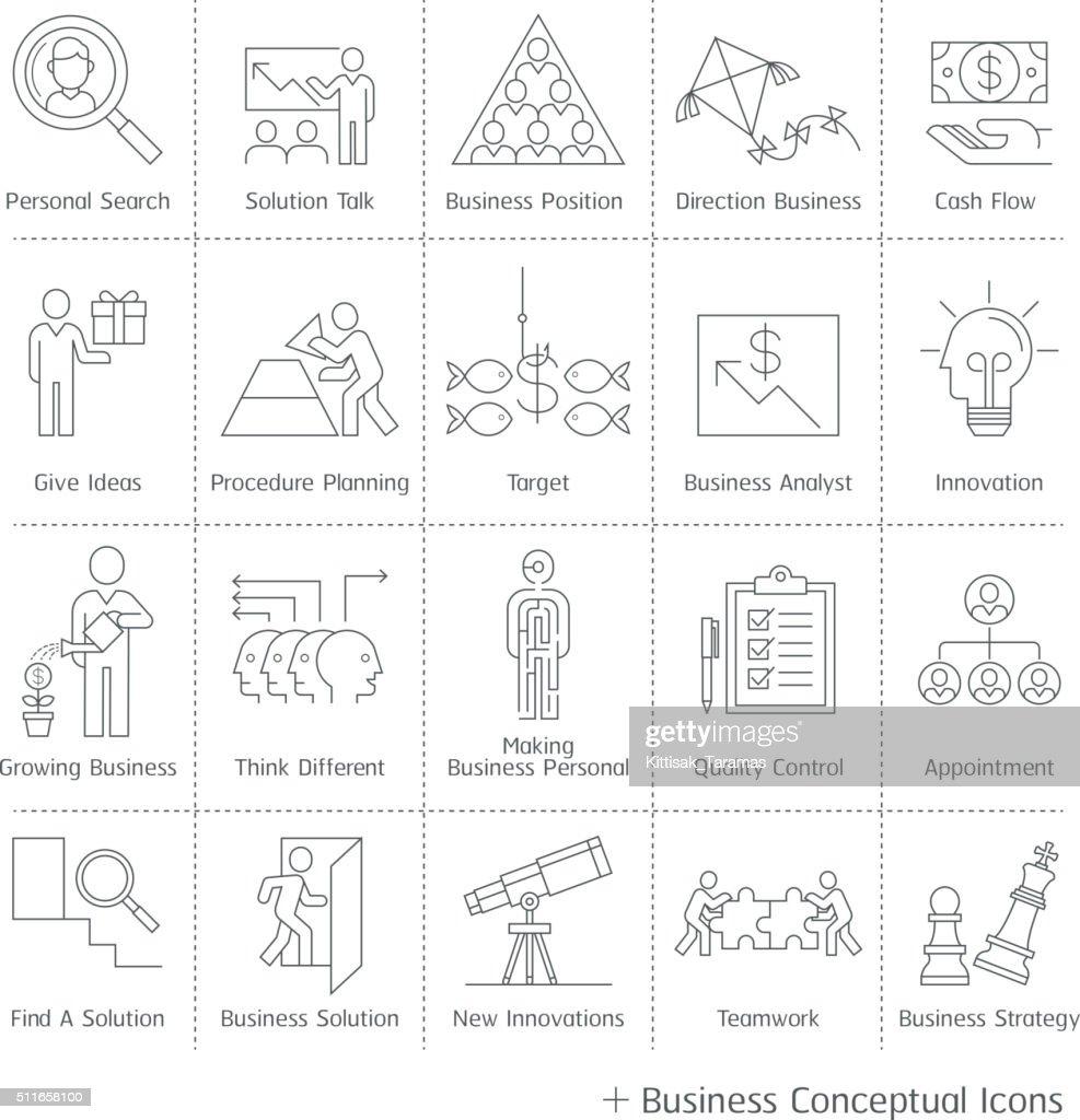 Business management conceptual icons.