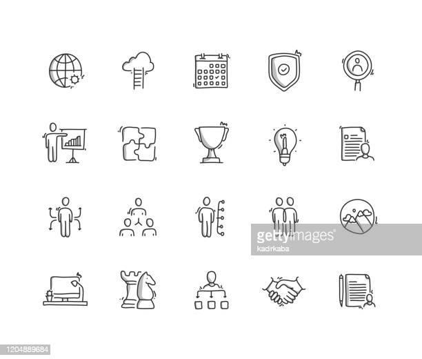 illustrazioni stock, clip art, cartoni animati e icone di tendenza di set di icone disegno a mano di gestione aziendale - disegnare