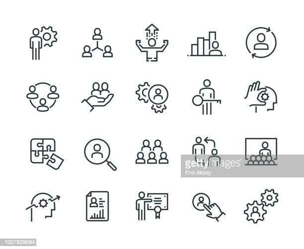 illustrazioni stock, clip art, cartoni animati e icone di tendenza di business management icon set - reparto assunzioni