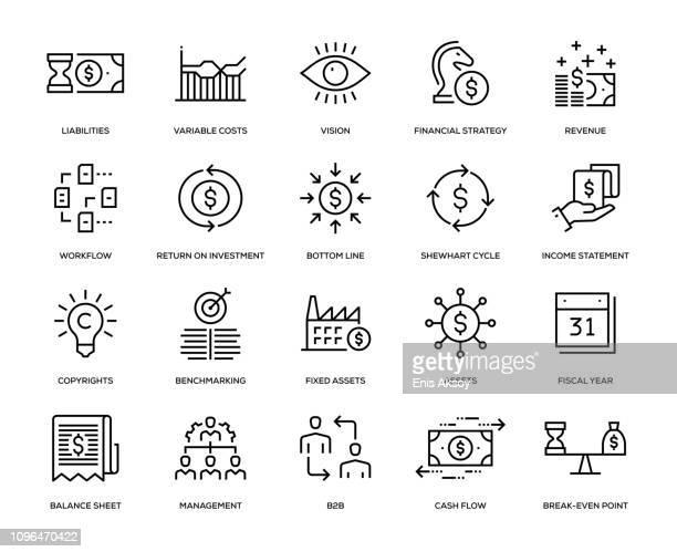 business management icon set - return on investment stock illustrations