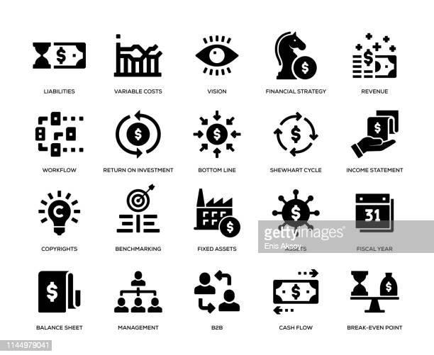 business management icon set - cash flow stock illustrations, clip art, cartoons, & icons
