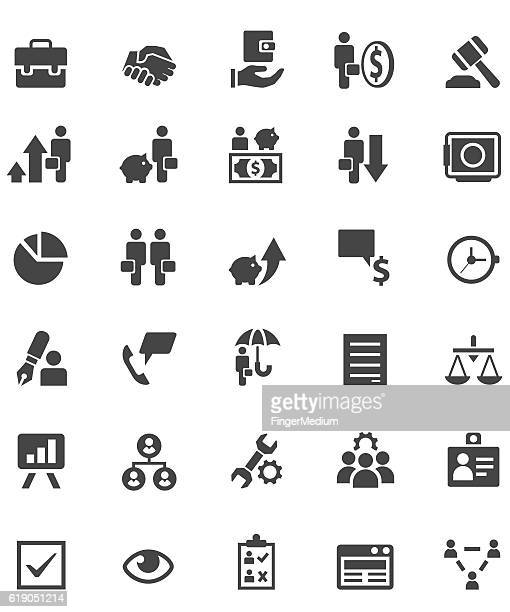 business management icon set - ordering stock illustrations, clip art, cartoons, & icons