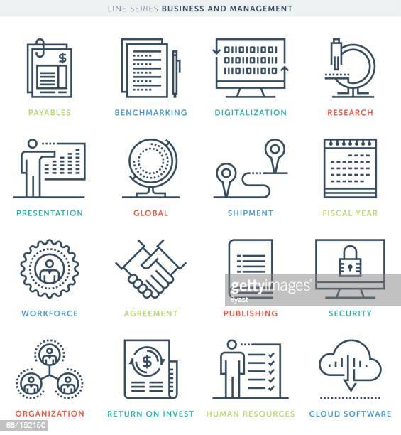 business management icon set - fiscal year stock illustrations