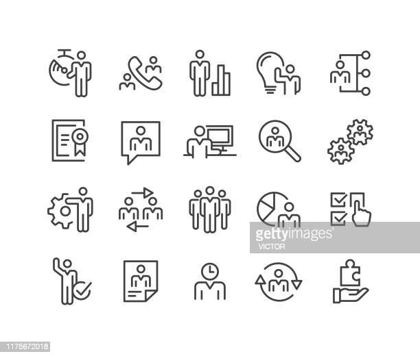 business management icons - classic line series - head above water stock illustrations