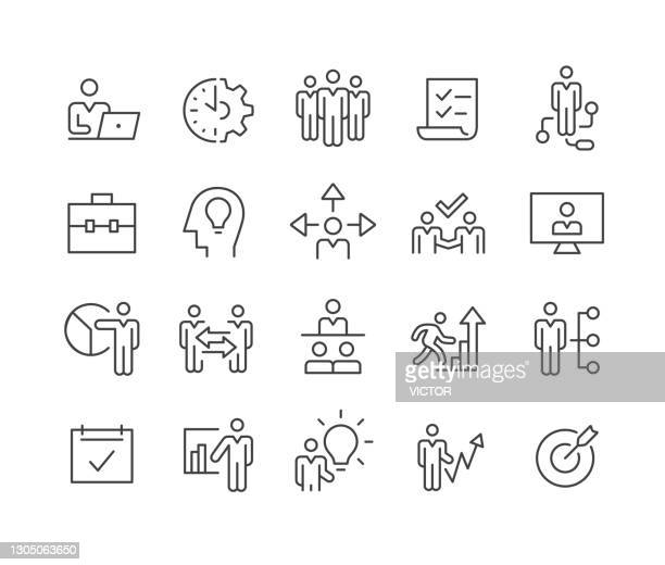 business management icons - classic line series - employee engagement stock illustrations