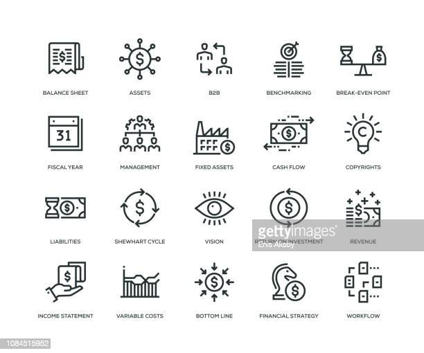 business management icons - line series - dollar sign stock illustrations