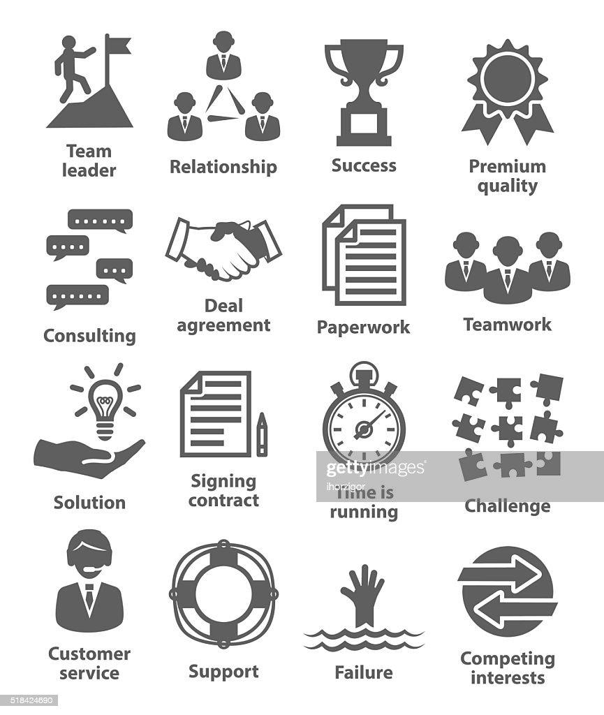 Business management icons. Pack 10.