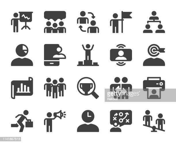 geschäftsführung-icons - umschulung stock-grafiken, -clipart, -cartoons und -symbole