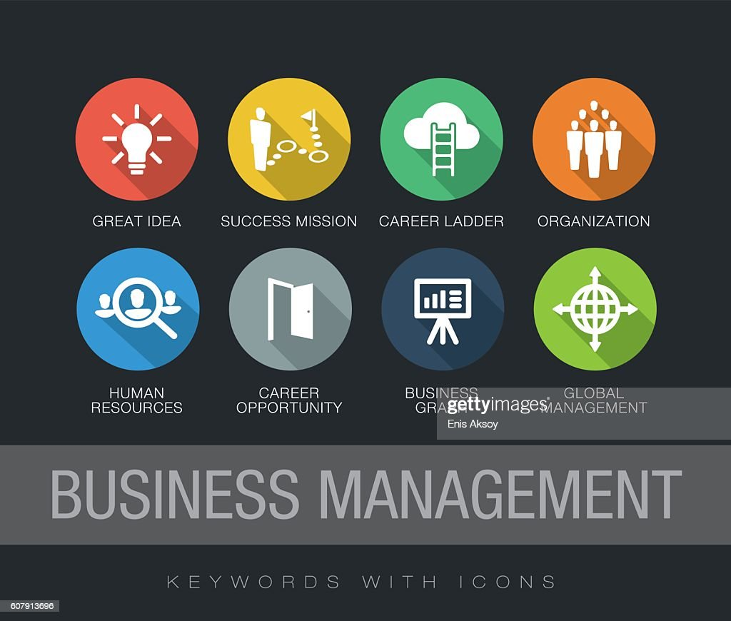 Business Management keywords with icons : stock illustration