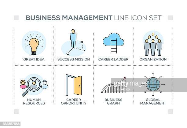Business Management keywords with line icons