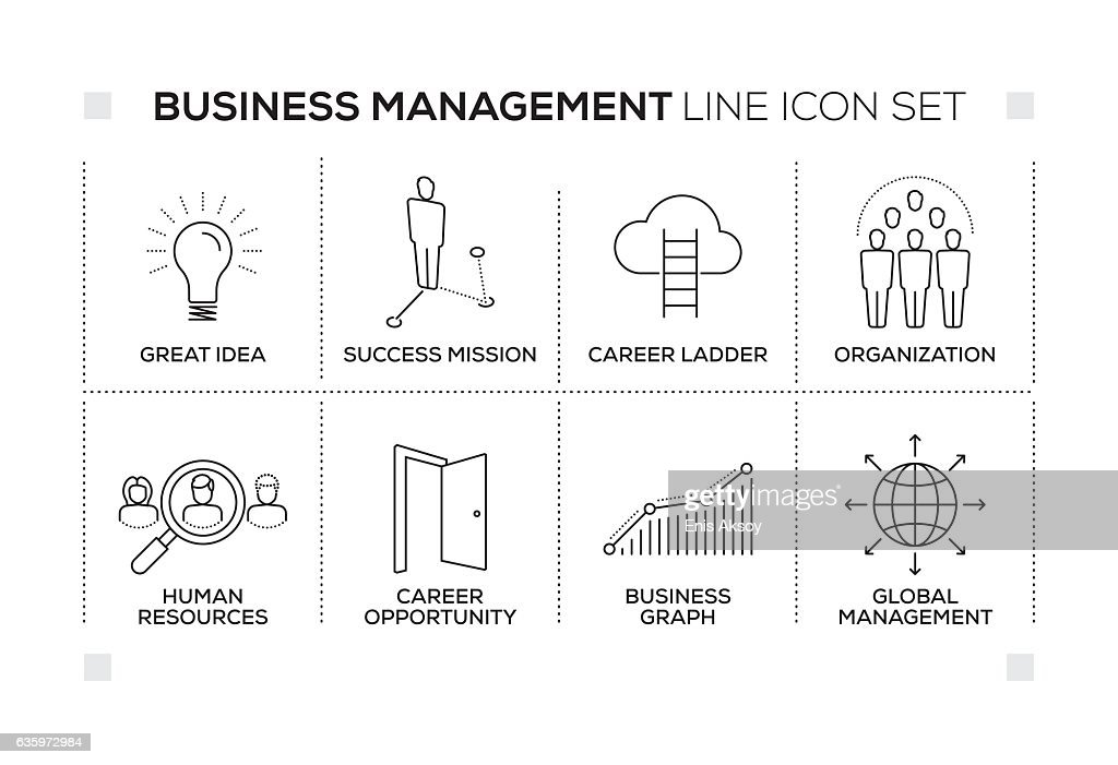 Business Management keywords with monochrome line icons