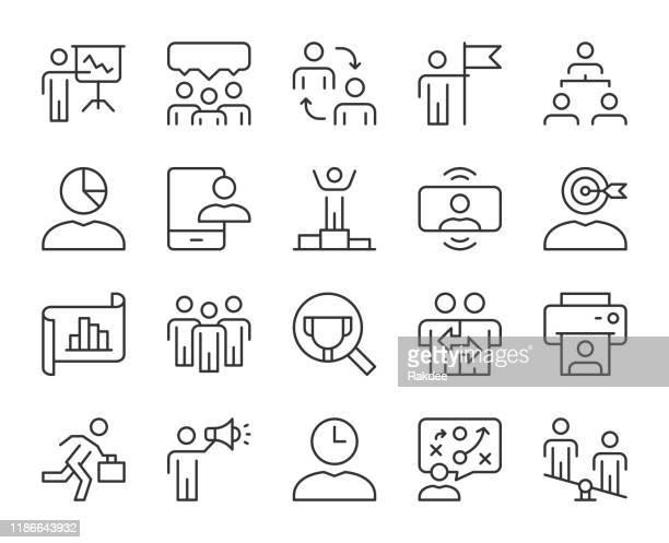 business management - light line icons - umschulung stock-grafiken, -clipart, -cartoons und -symbole