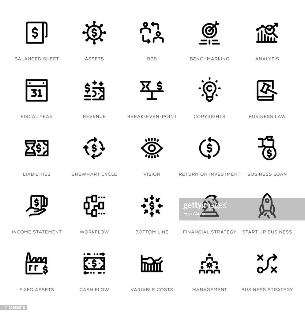 Business Management Line Icon Set : stock illustration
