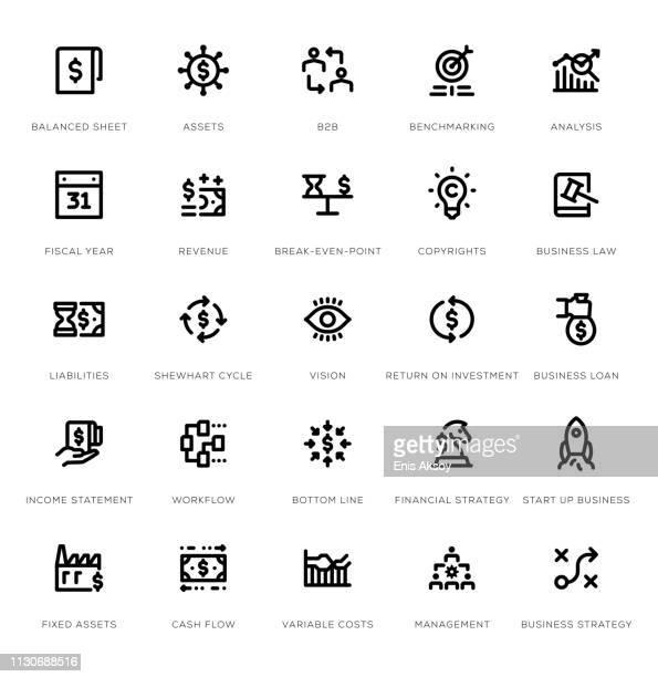 business management line icon set - cash flow stock illustrations, clip art, cartoons, & icons