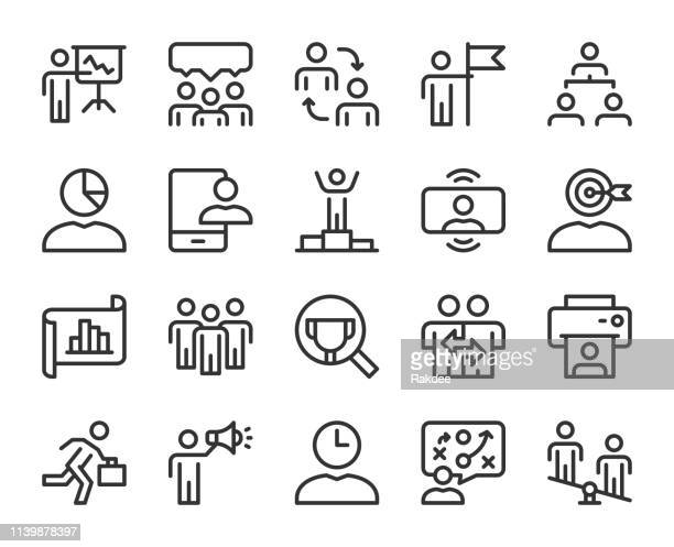 business management-line icons - umschulung stock-grafiken, -clipart, -cartoons und -symbole