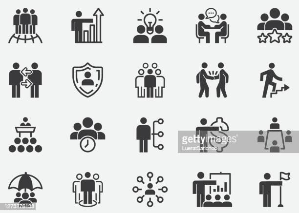 business management, meeting line icon set.meeting room, team, teamwork, präsentation, idee, brainstorming,business people.people, teamwork, präsentation, führung, wachstum, manager,pixel perfect icons - geschäftsbesprechung stock-grafiken, -clipart, -cartoons und -symbole