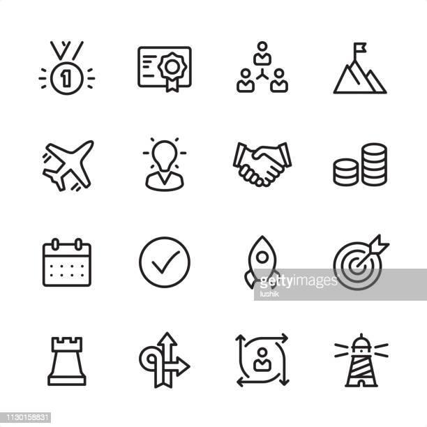 business management - outline icon set - calendar date stock illustrations
