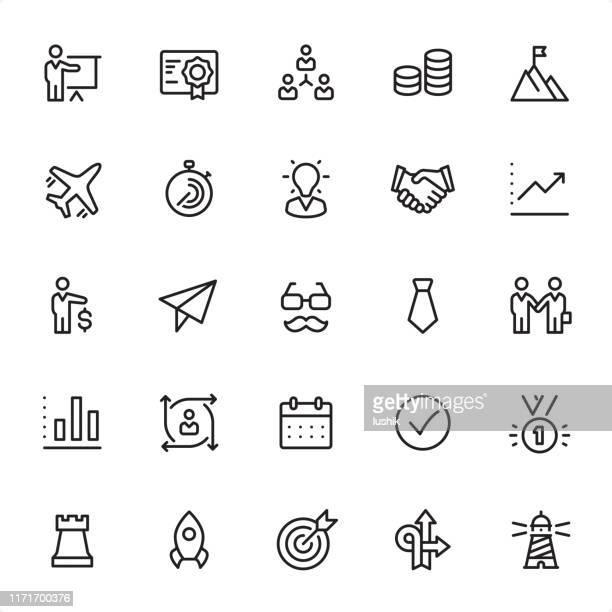 ilustraciones, imágenes clip art, dibujos animados e iconos de stock de administración de negocios - conjunto de iconos de esquema - bigote