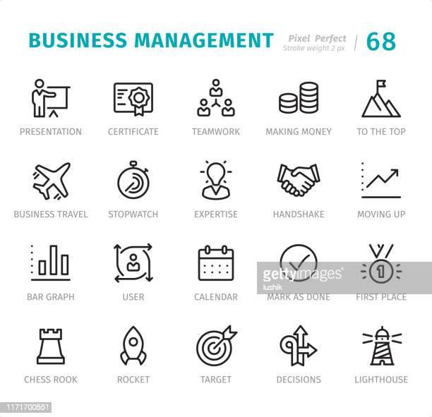 ilustraciones, imágenes clip art, dibujos animados e iconos de stock de gestión de negocios - pixel iconos de línea perfectos con subtítulos - torre pieza de ajedrez