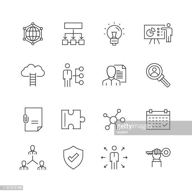 illustrations, cliparts, dessins animés et icônes de gestion d'entreprise-ensemble d'icônes de vecteur de ligne mince - expliquer