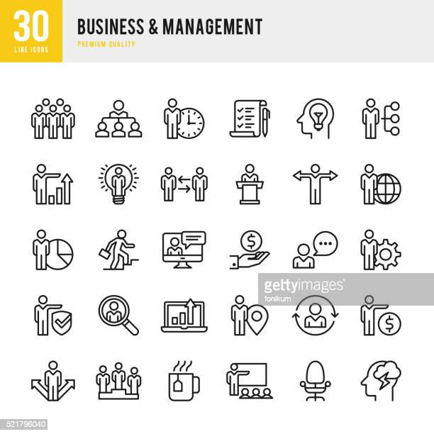 business & management - thin line icon set - finance and economy stock illustrations, clip art, cartoons, & icons