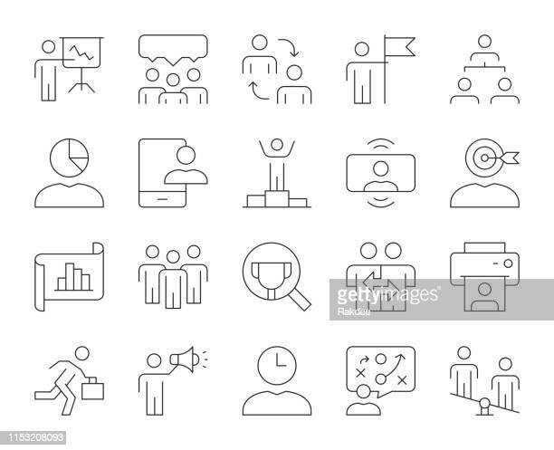 business management-dünn-line icons - umschulung stock-grafiken, -clipart, -cartoons und -symbole