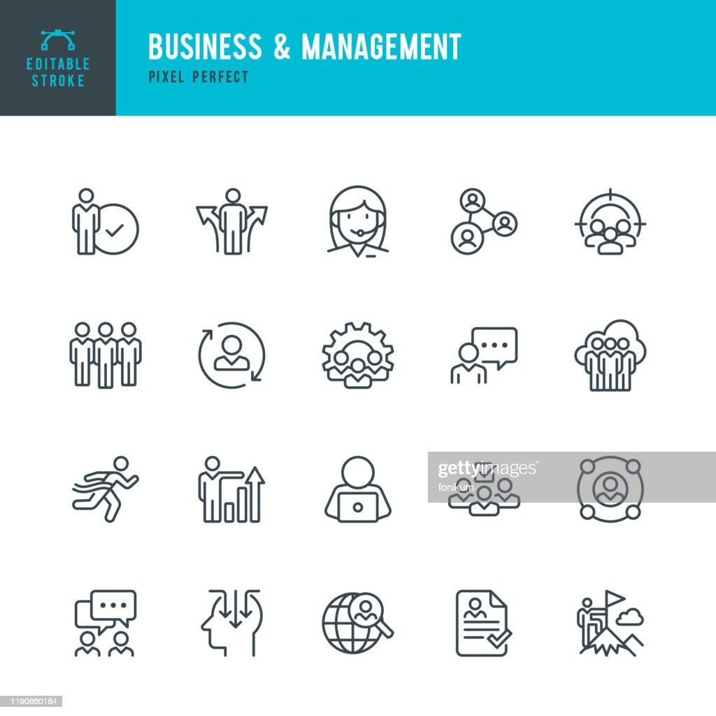 Business & Management - set di icone vettoriali a linea sottile. Pixel perfetto. Tratto modificabile. Il set contiene icone Persone, Risorse umane, Lavoro di squadra, Supporto, Curriculum, Scelta. : Illustrazione stock