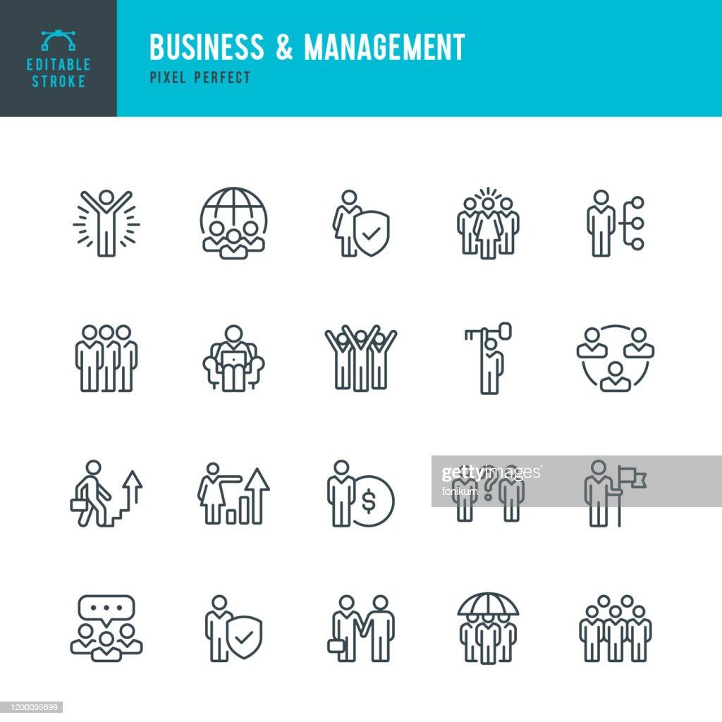 Business & Management-Icon set met dunne lijn vector. Pixel perfect. Bewerkbare lijn. De set bevat iconen: mensen, teamwork, partnership, presentatie, leiderschap, groei, Manager. : Stockillustraties