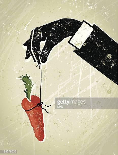 ilustraciones, imágenes clip art, dibujos animados e iconos de stock de hombre de negocios con la mano dangling a carrot - incentive