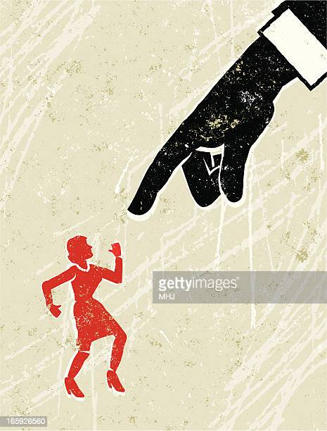 Business Man's Hand Pointing at Tiny Woman