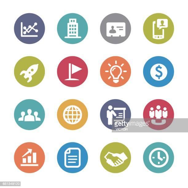 illustrations, cliparts, dessins animés et icônes de marketing business icons - série cercle - temps limité