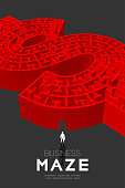 Business Maze or labyrinth Currency USD (United States Dollars) sign shape red color with businessman, 3D design illustration isolated on dark background, with copy space