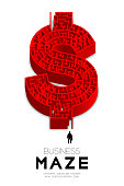 Business Maze or labyrinth Currency USD (United States Dollars) sign shape red color with businessman, 3D isometric design illustration isolated on white background, with copy space